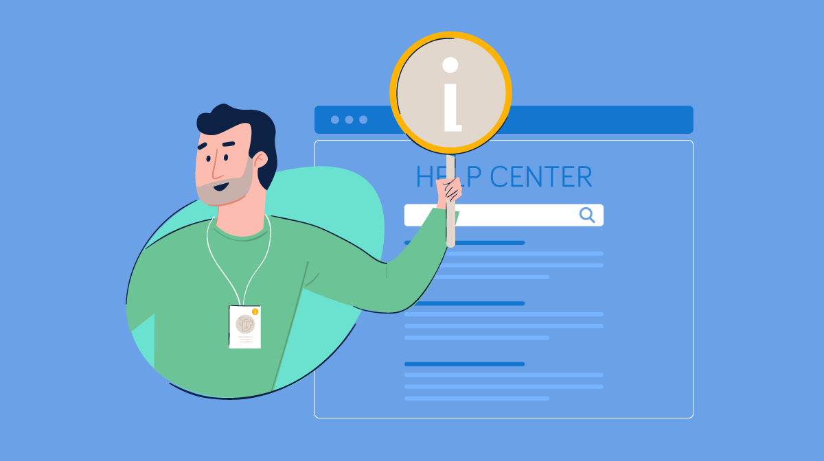 An illustration of a person holding an information icon in front of a help center.