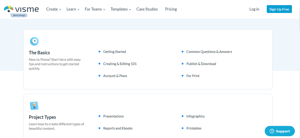 A screenshot of Visme's knowledge base table of contents.