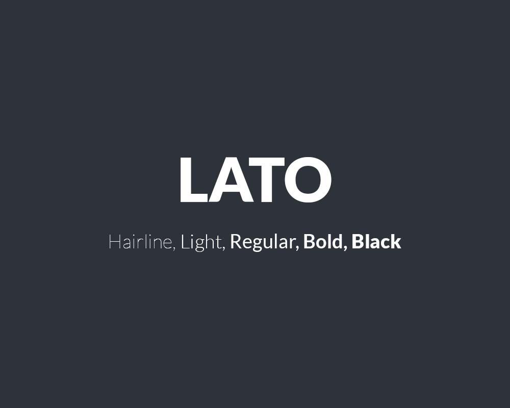 The font Lato.