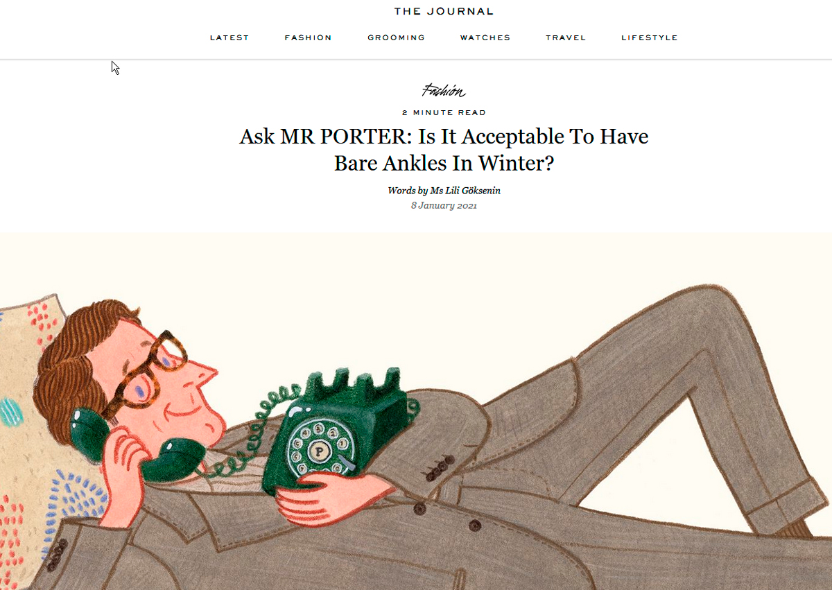A screenshot of a content marketing campaign by MR. PORTER.