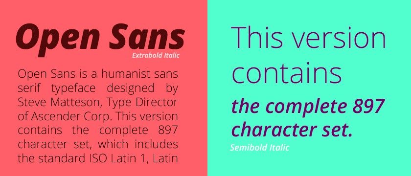 The font Open Sans.