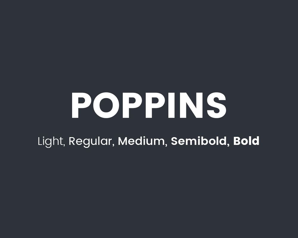 The font Poppins.