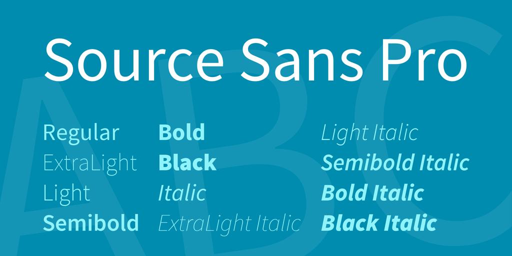 The font Source Sans Pro.