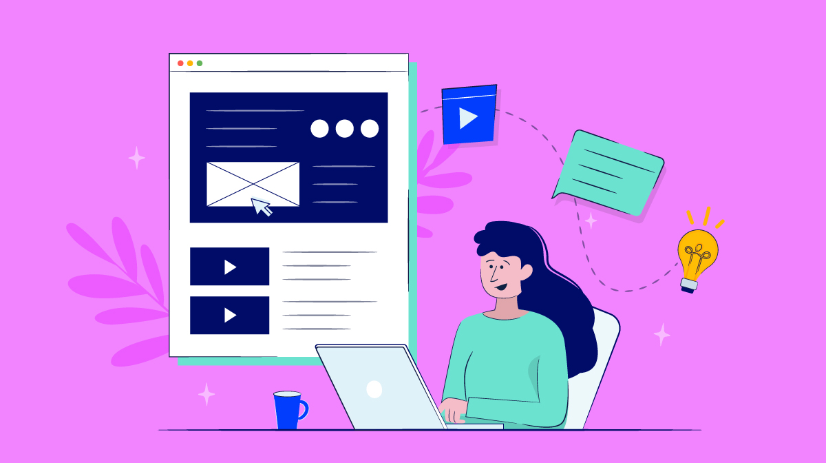 An illustration of a woman designing her blog home page.