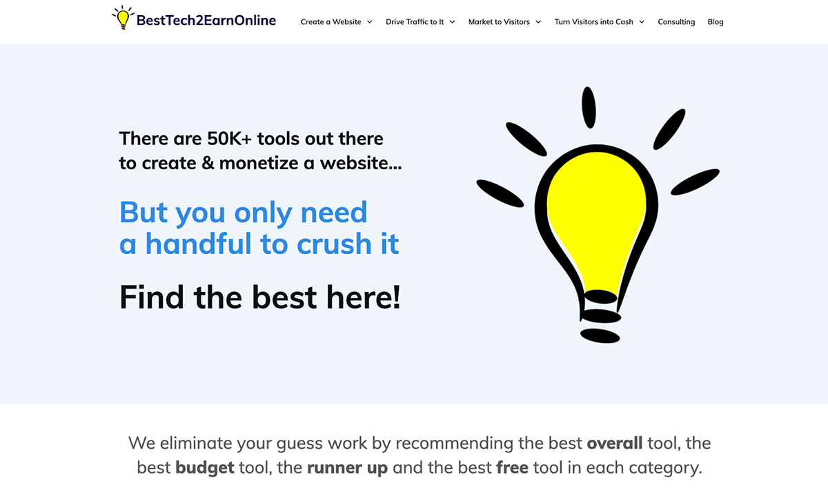 An example of a well-designed blog home page.