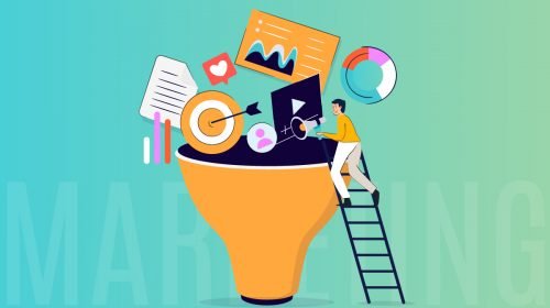 An illustration of a man climbing a ladder to a funnel full of marketing materials.