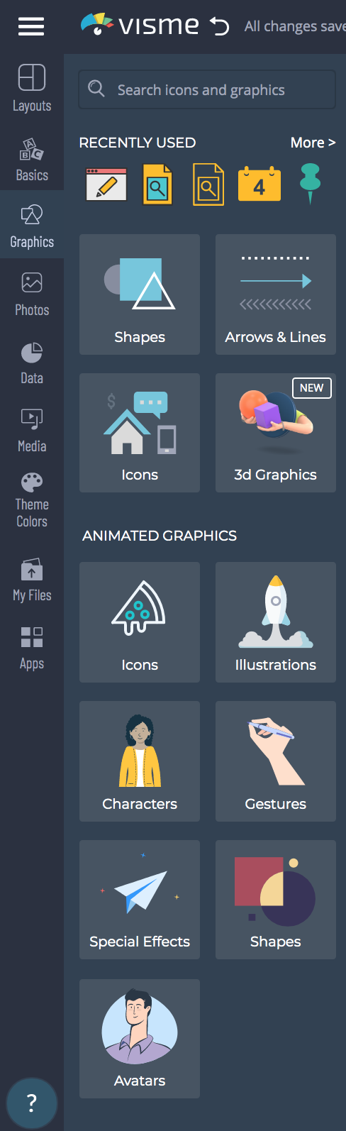 The animated graphics options available in Visme.