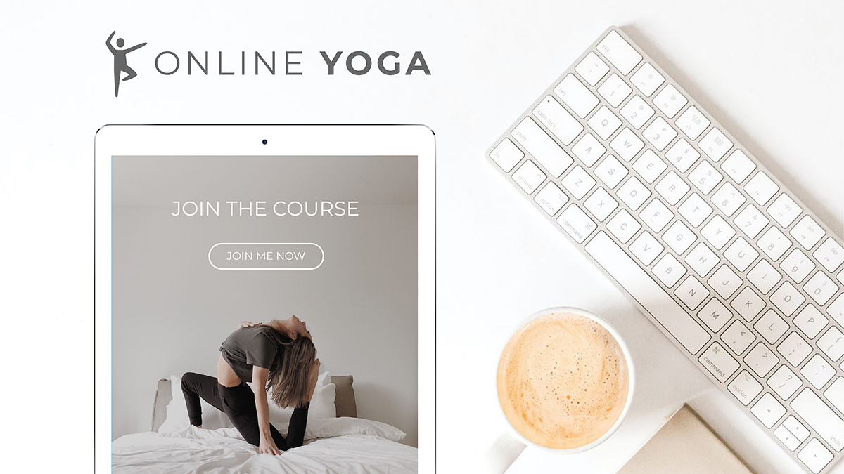 A yoga mockup template available to customize in Visme.