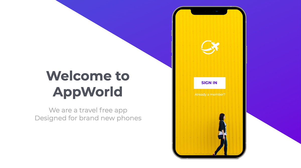 An app mockup template available to customize in Visme.