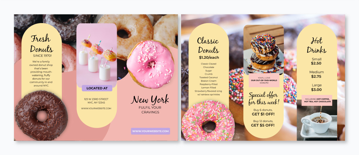 A trifold brochure template available to customize in Visme.