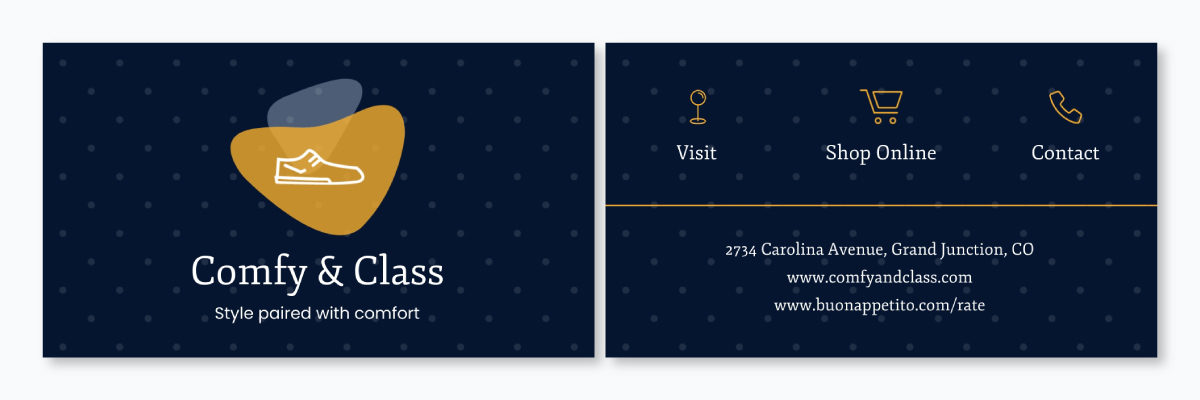 A business card template available to customize in Visme.