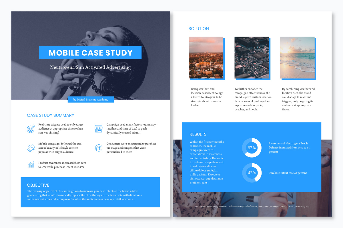 A case study template available to customize in Visme.