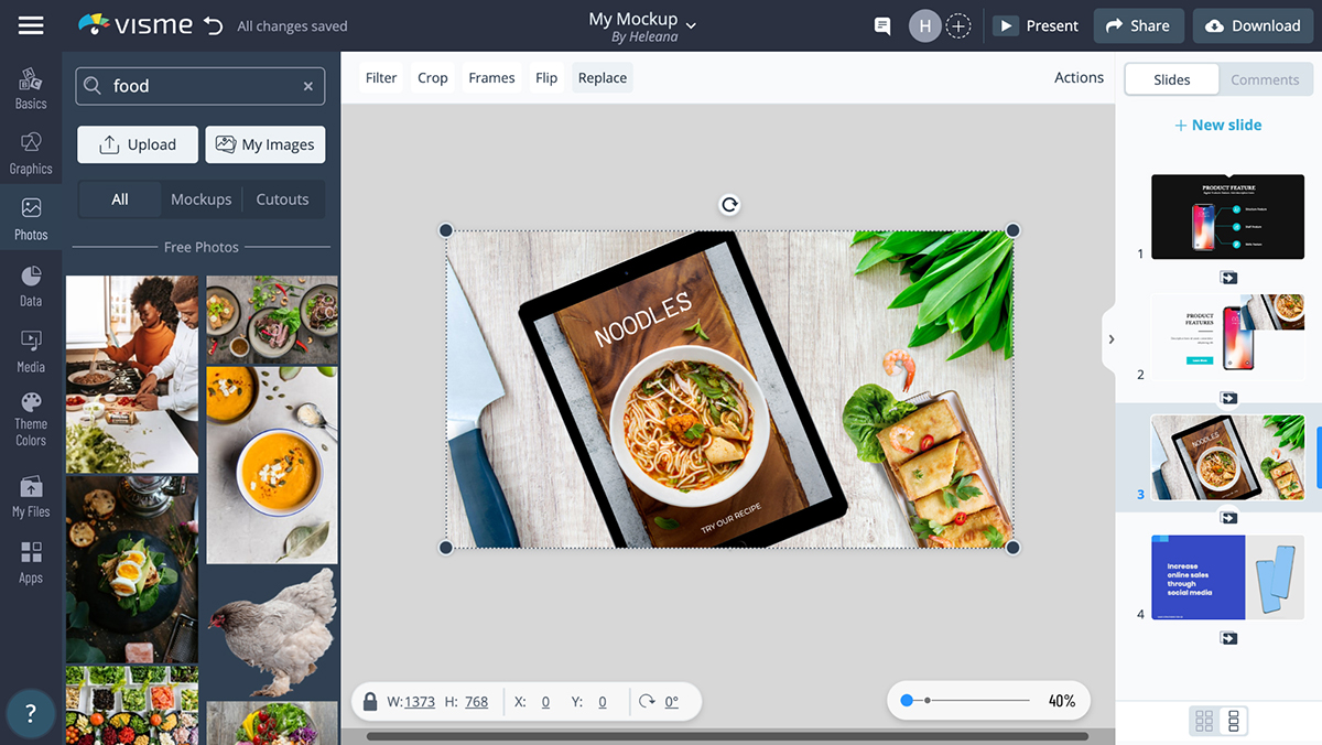 A screenshot of a mockup customized with stock photos in Visme's editor.