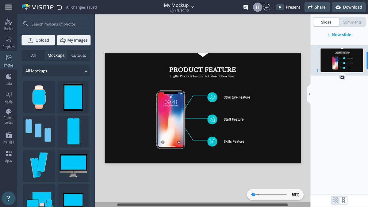 A screenshot of the mockup elements you can use in Visme's editor.