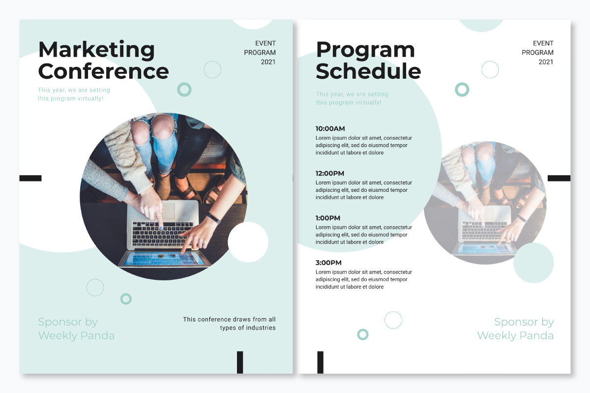 An event program template available to customize in Visme.