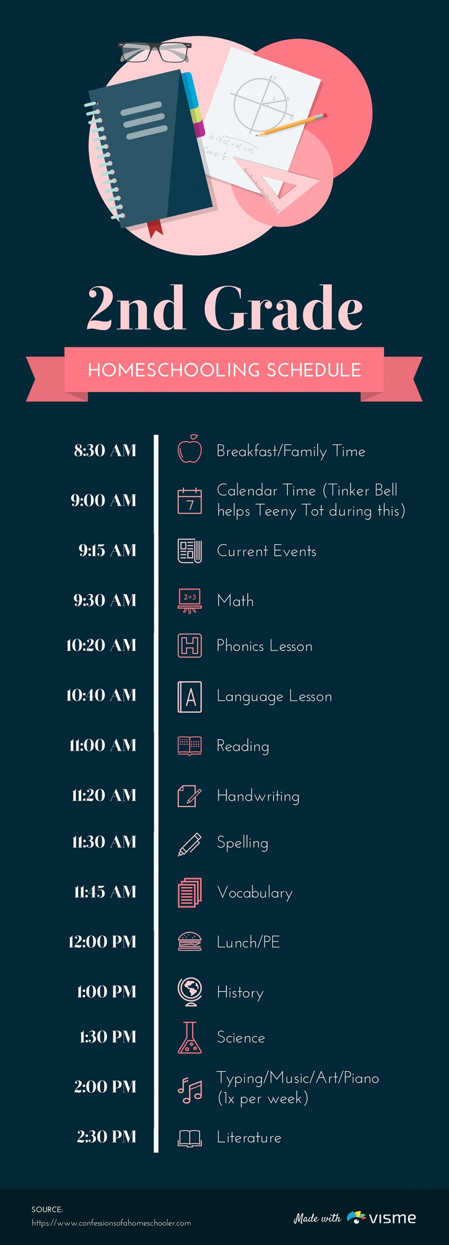 A schedule timeline template available to customize in Visme.