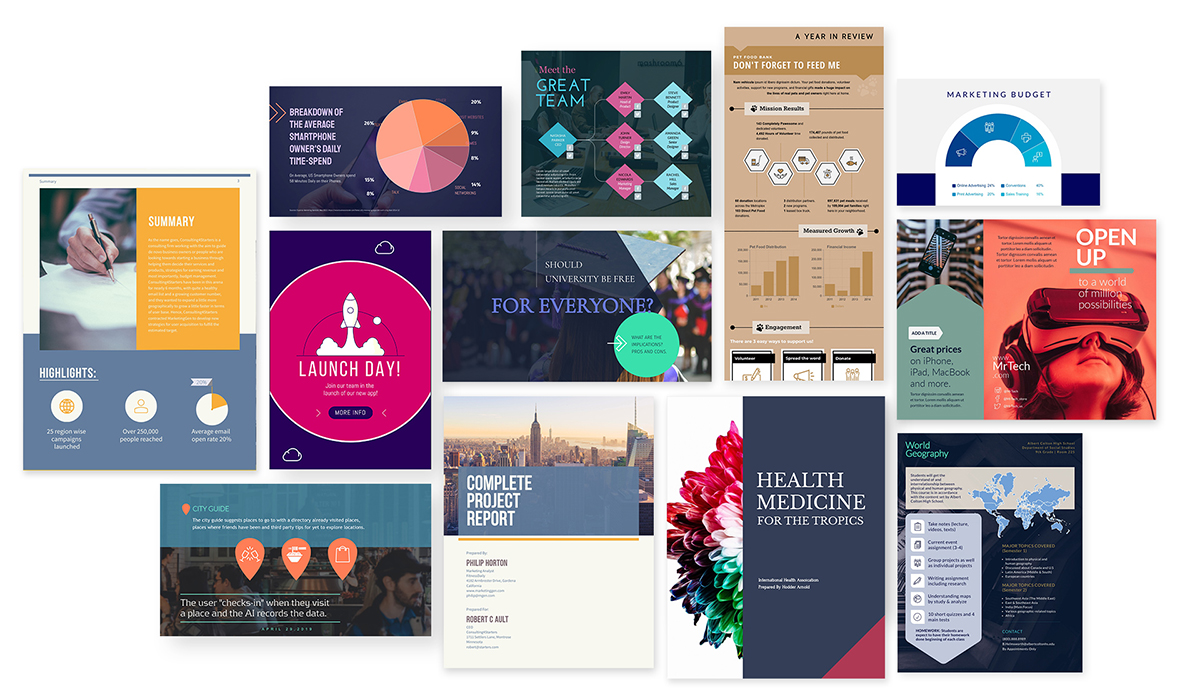 A collage of educational templates available in Visme.