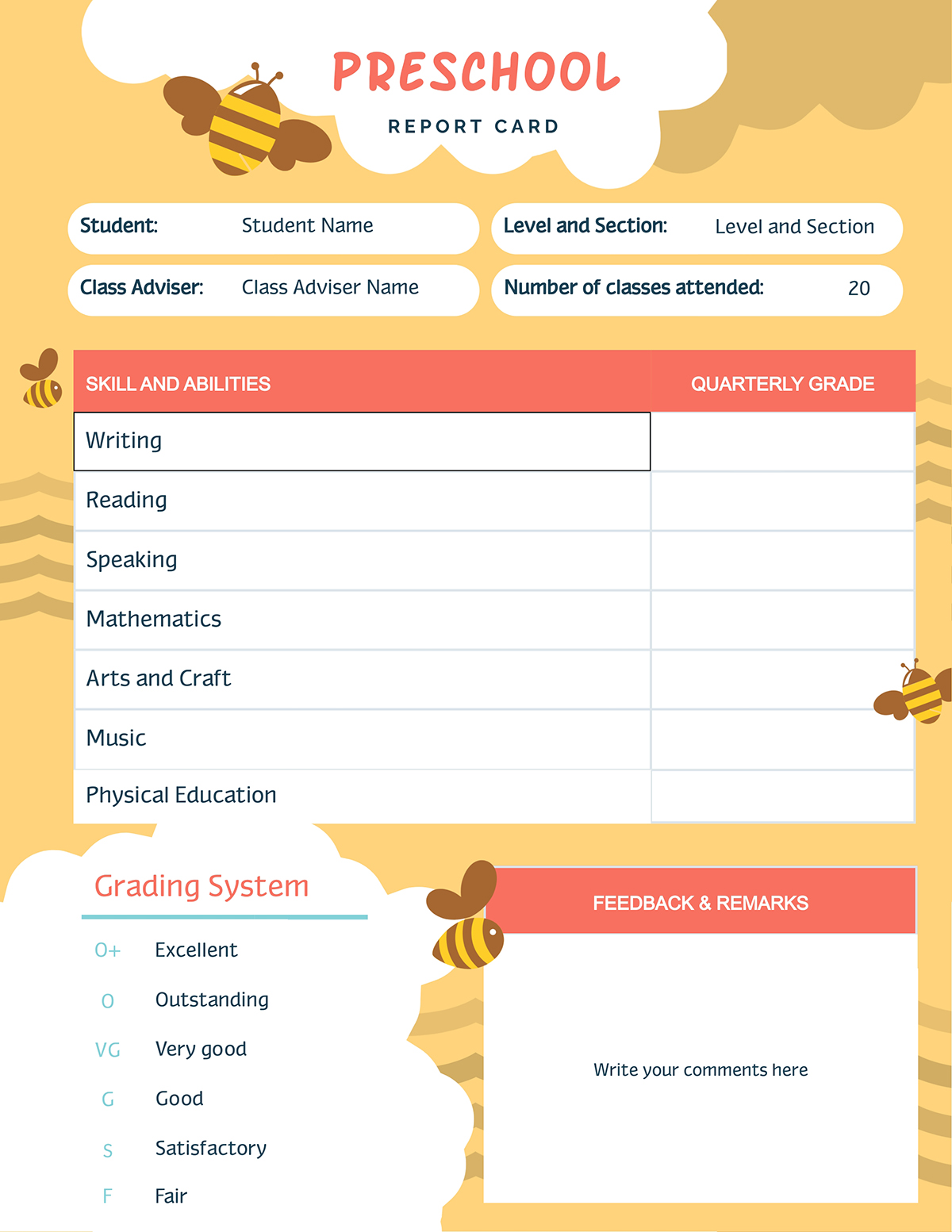 A preschool report card template available to edit in Visme.