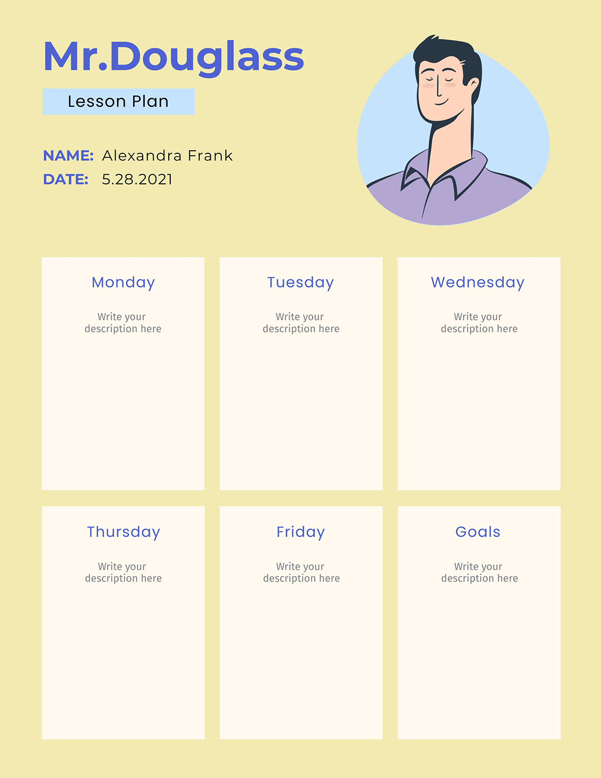A weekly lesson plan template available in Visme.
