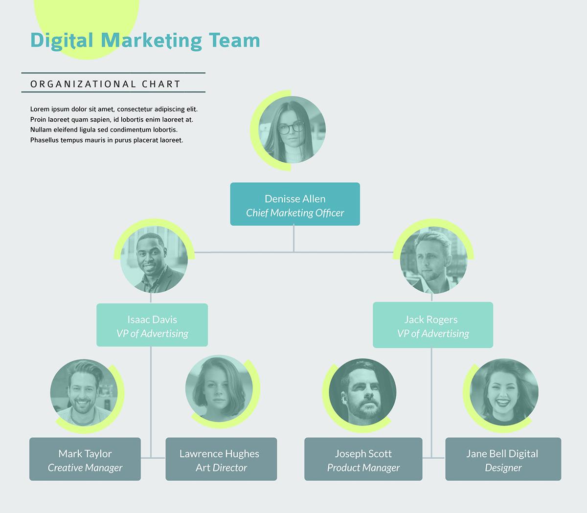 A digital marketing team flowchart template available in Visme.