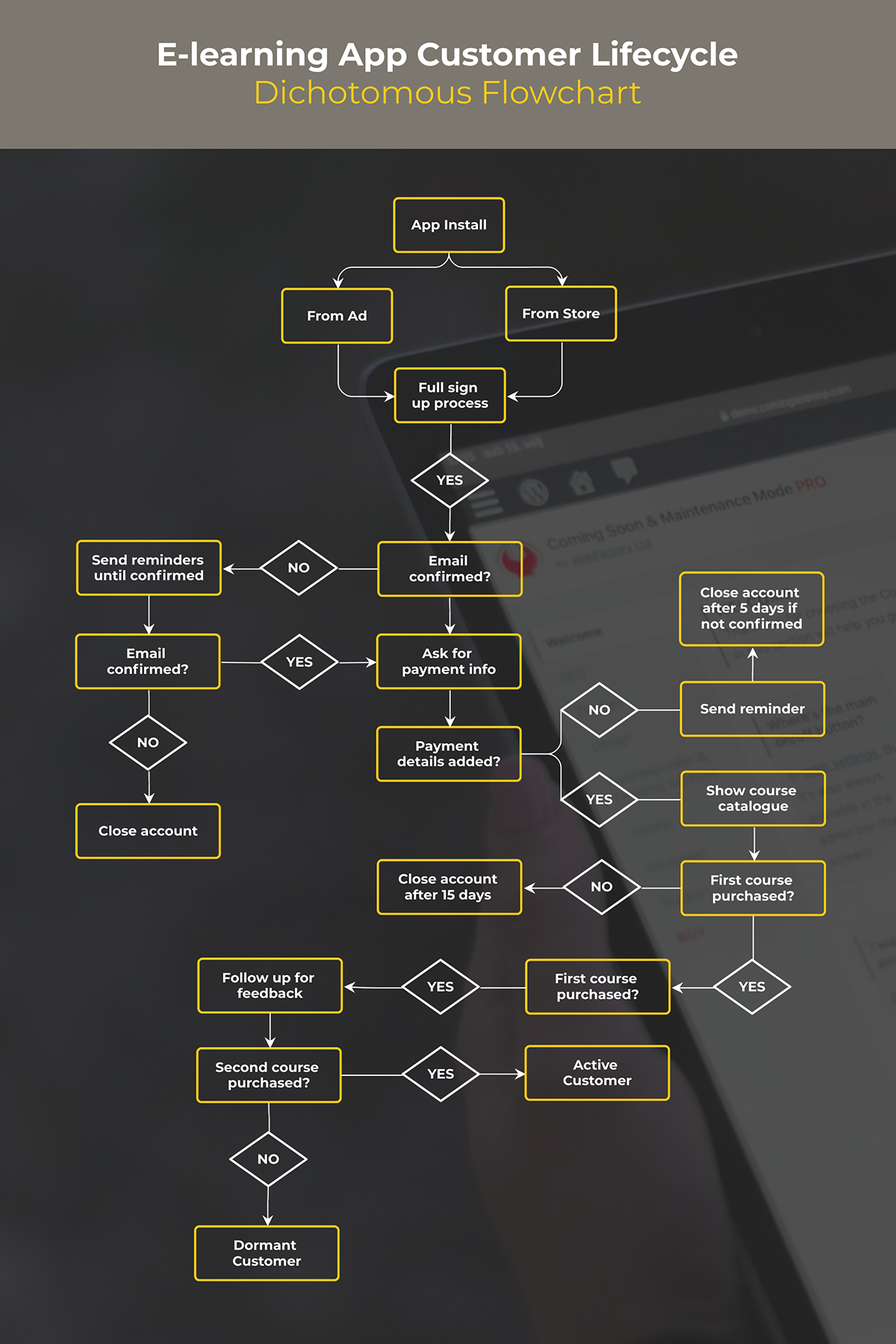An e-learning app customer lifecycle flowchart template available in Visme.