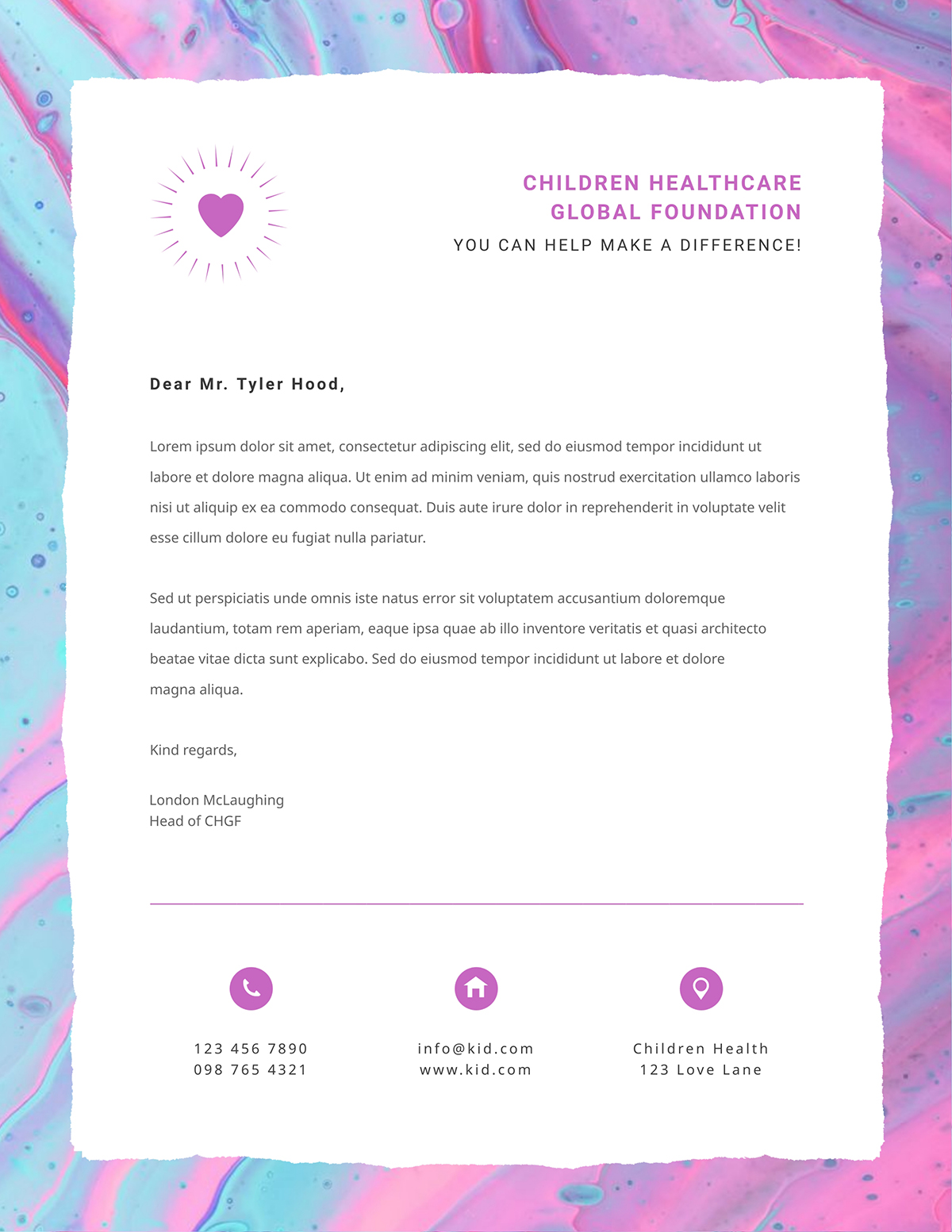 A children's healthcare charity letterhead template available in Visme.