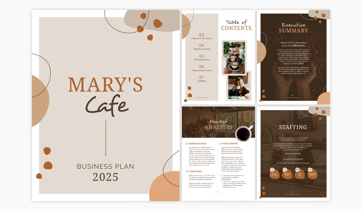 A coffee shop business plan template available in Visme.