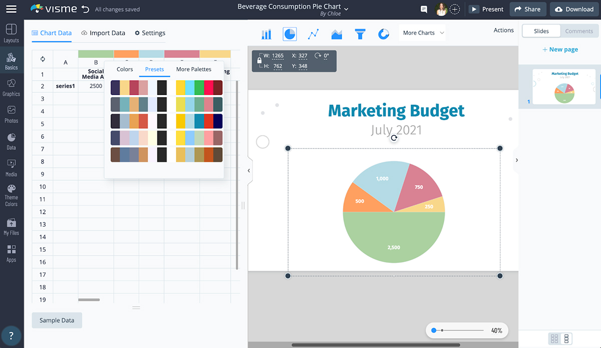 A screenshot showing how to color code a pie chart in Visme.