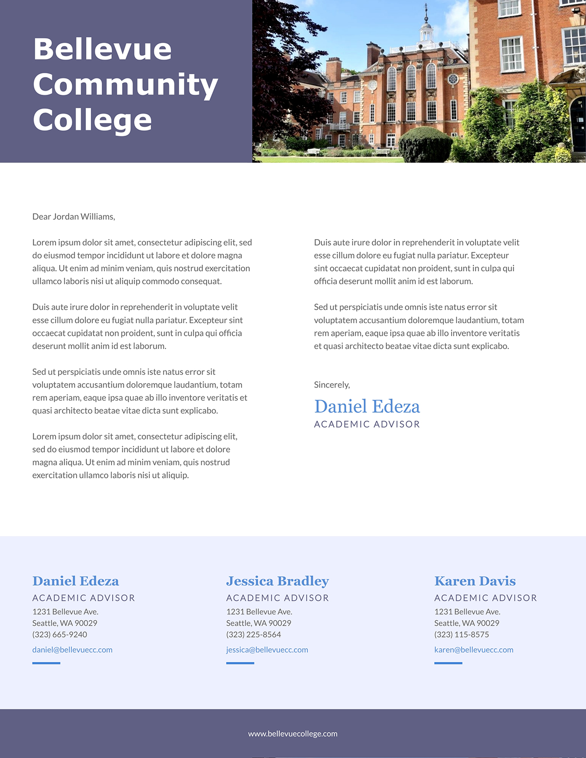 A community college letterhead template available to customize in Visme.
