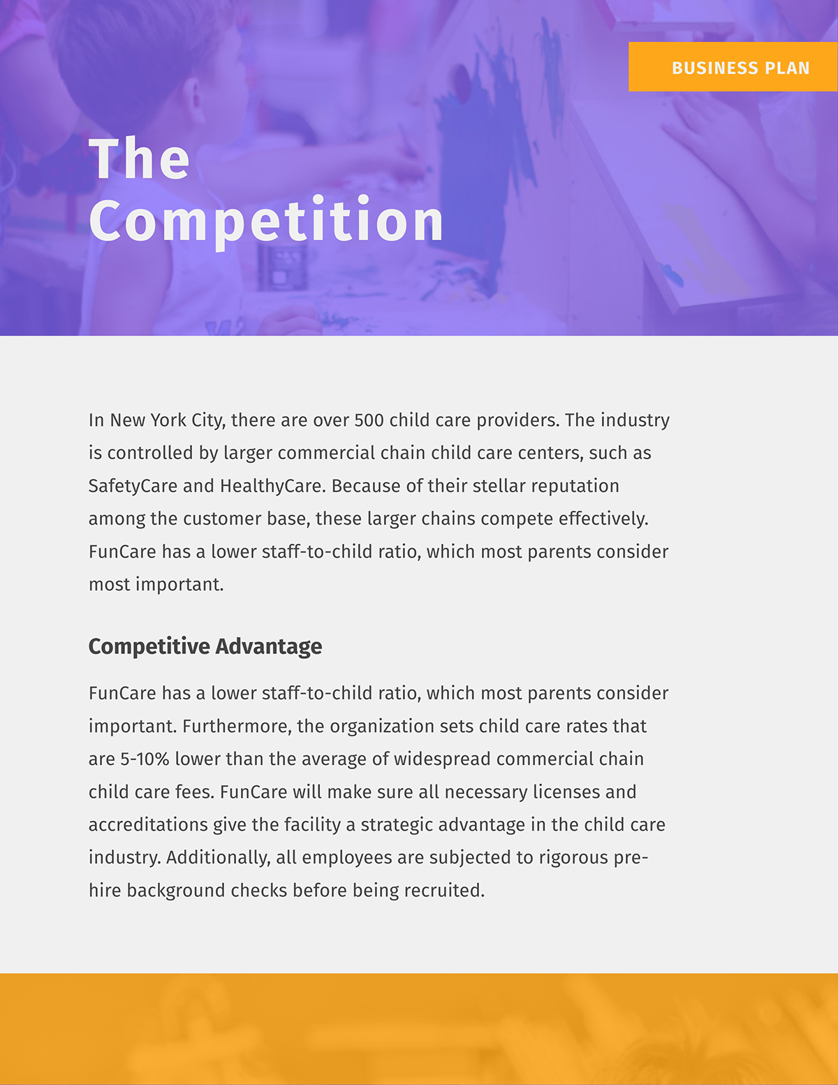 A competitive analysis page in a business plan template.