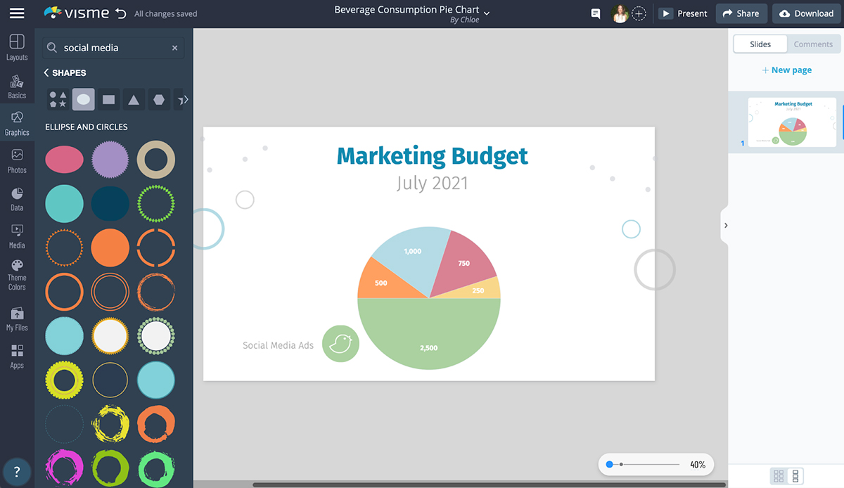 A screenshot of shapes and icons available to customize a pie chart in Visme.