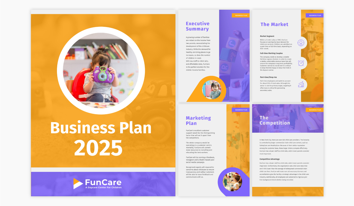 A daycare business plan template available in Visme.