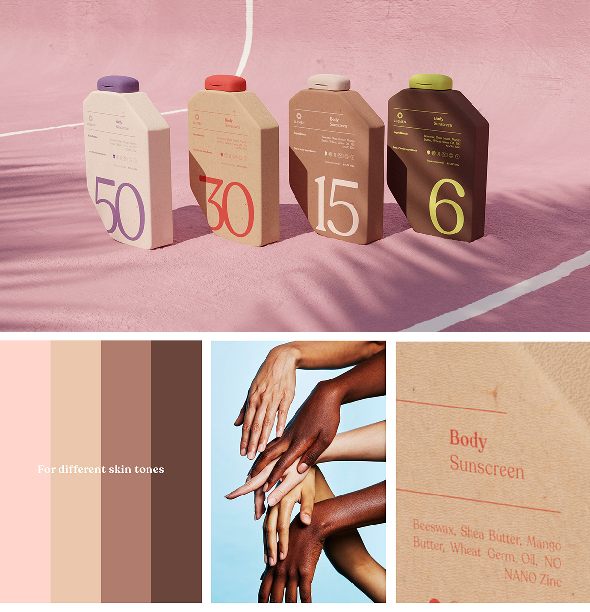 A graphic showcasing sunscreen in a variety of different skin tones.