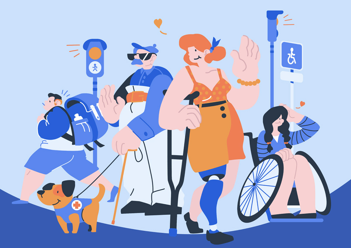An illustration depicting people with various disabilities.