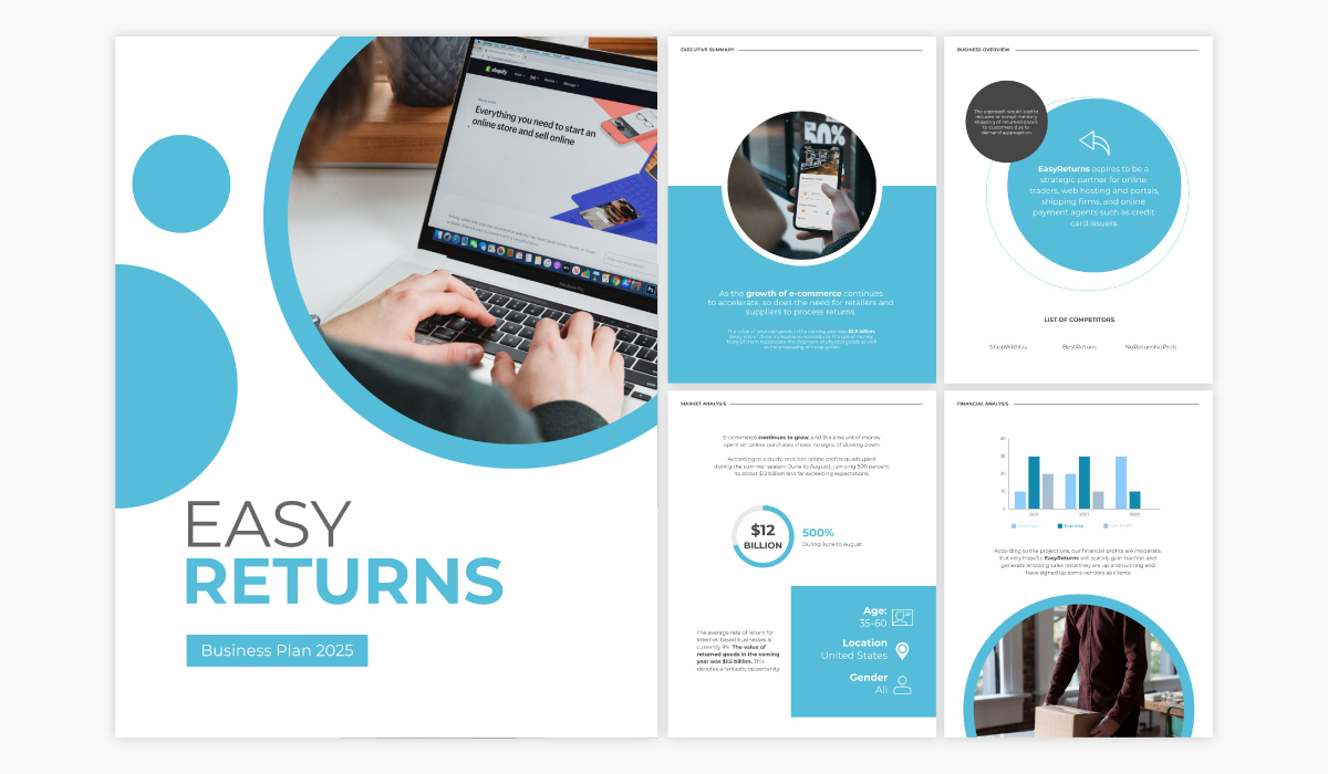 An ecommerce business plan template available in Visme.