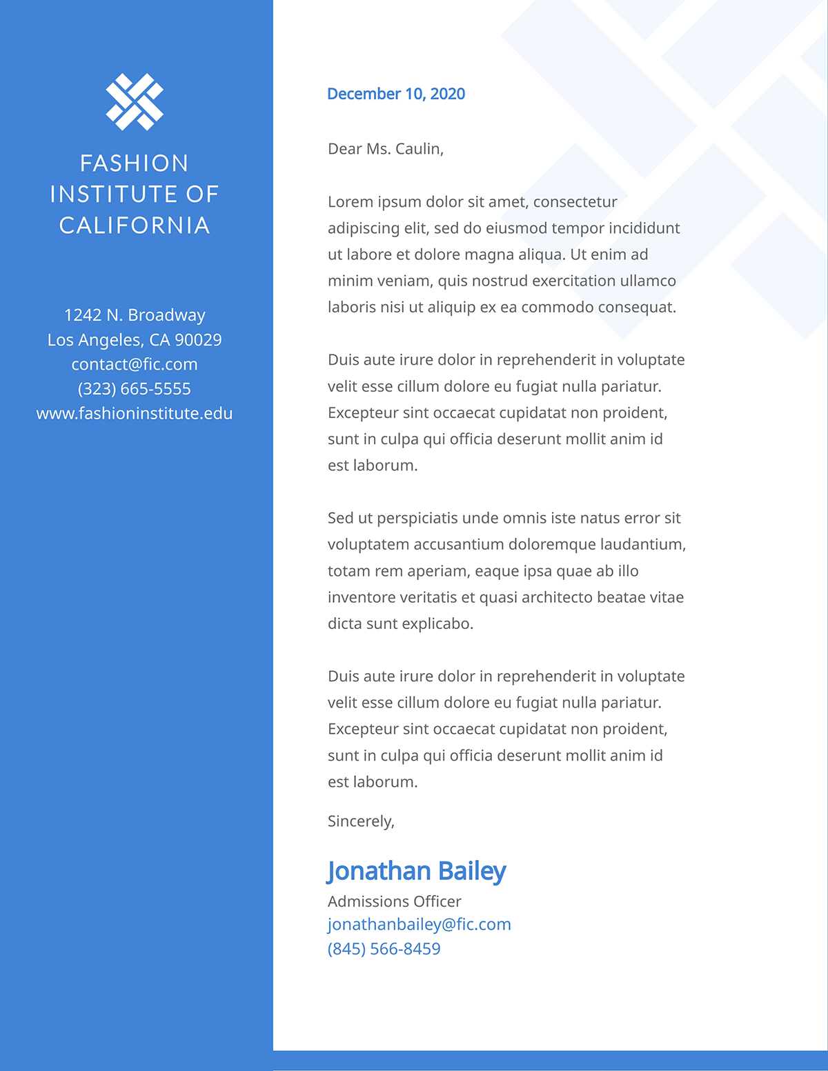 A fashion institute letterhead template available to customize in Visme.