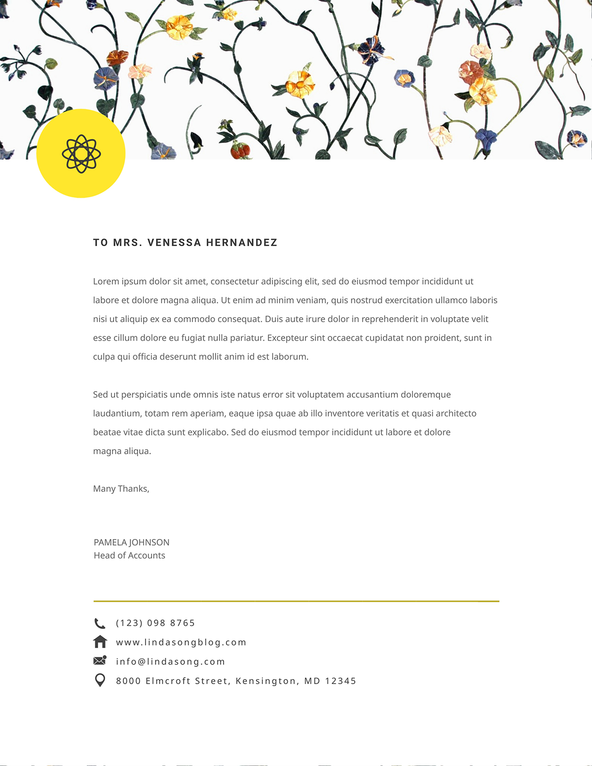 A floral personal letterhead template available to customize in Visme.