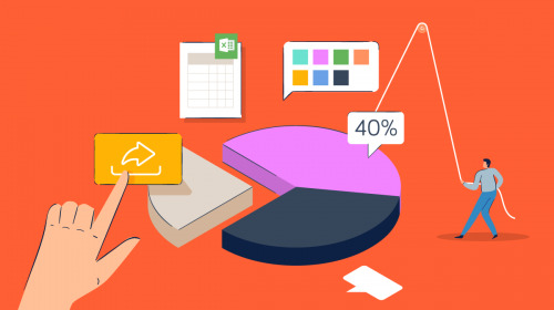 An illustration of a handing putting together a pie chart.