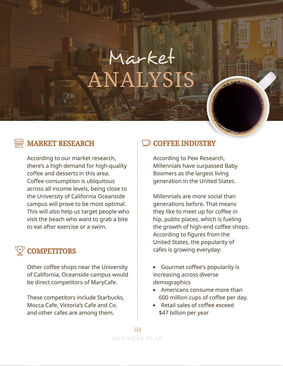 A market analysis page in a business plan template.