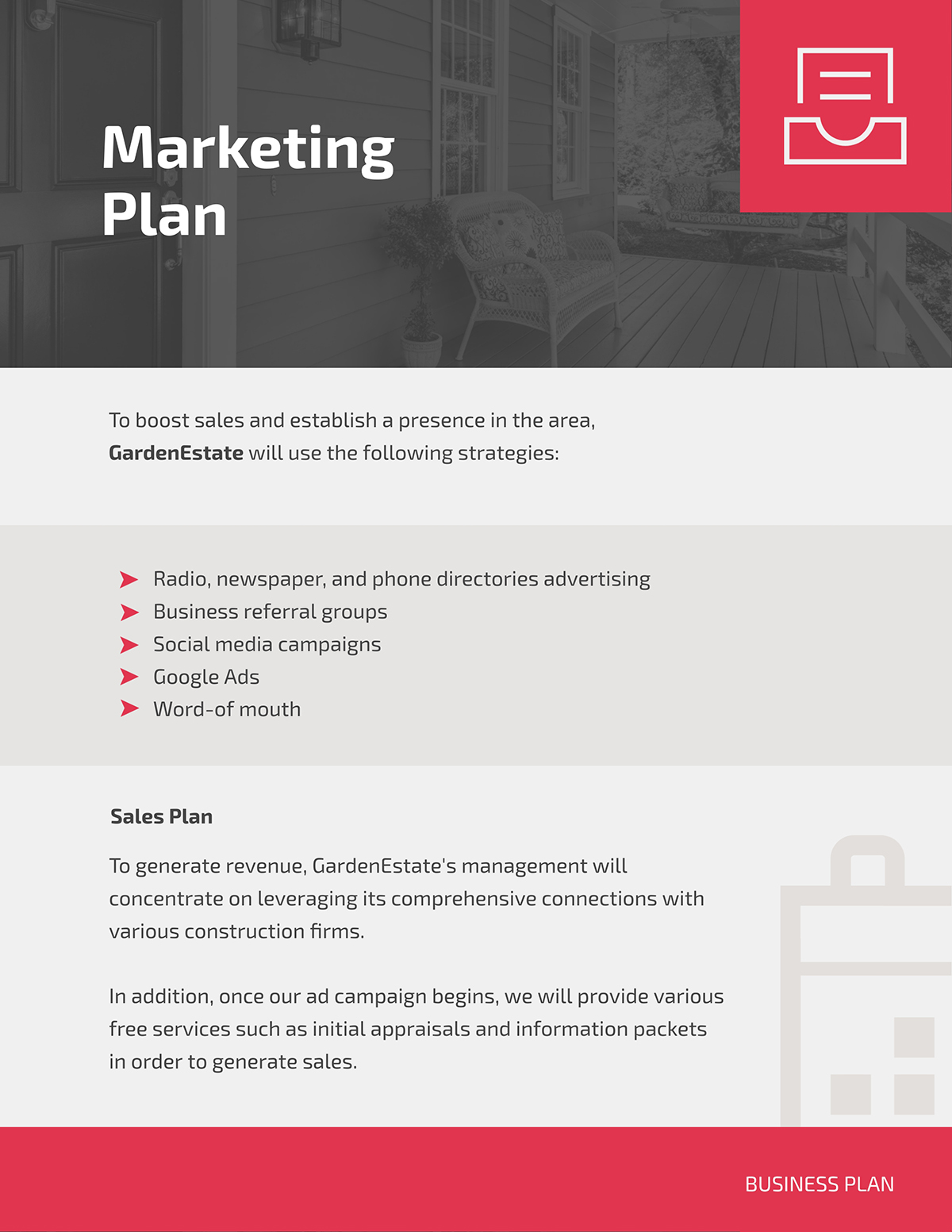 A marketing plan page from a business plan template.