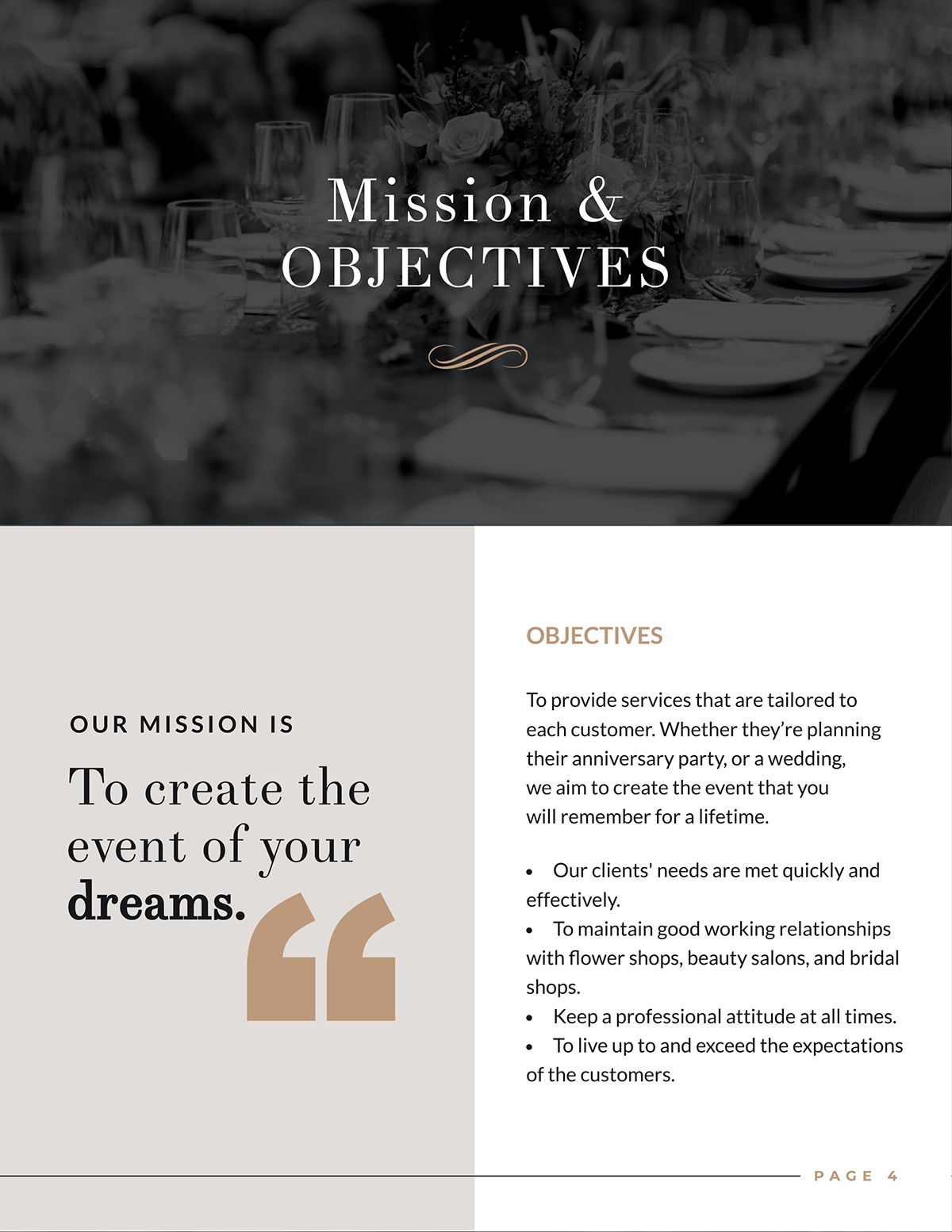 A mission statement page from a business plan template.