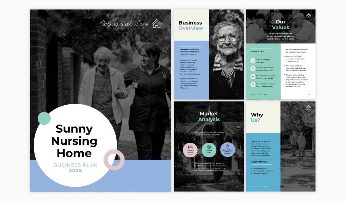 A nonprofit business plan template available in Visme.