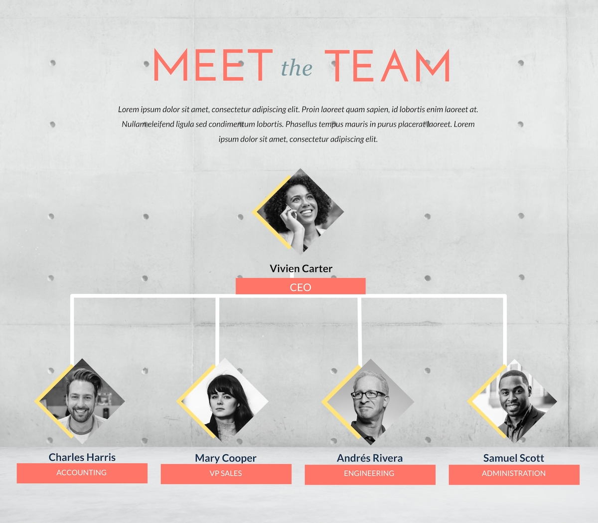 An organizational chart template available in Visme.
