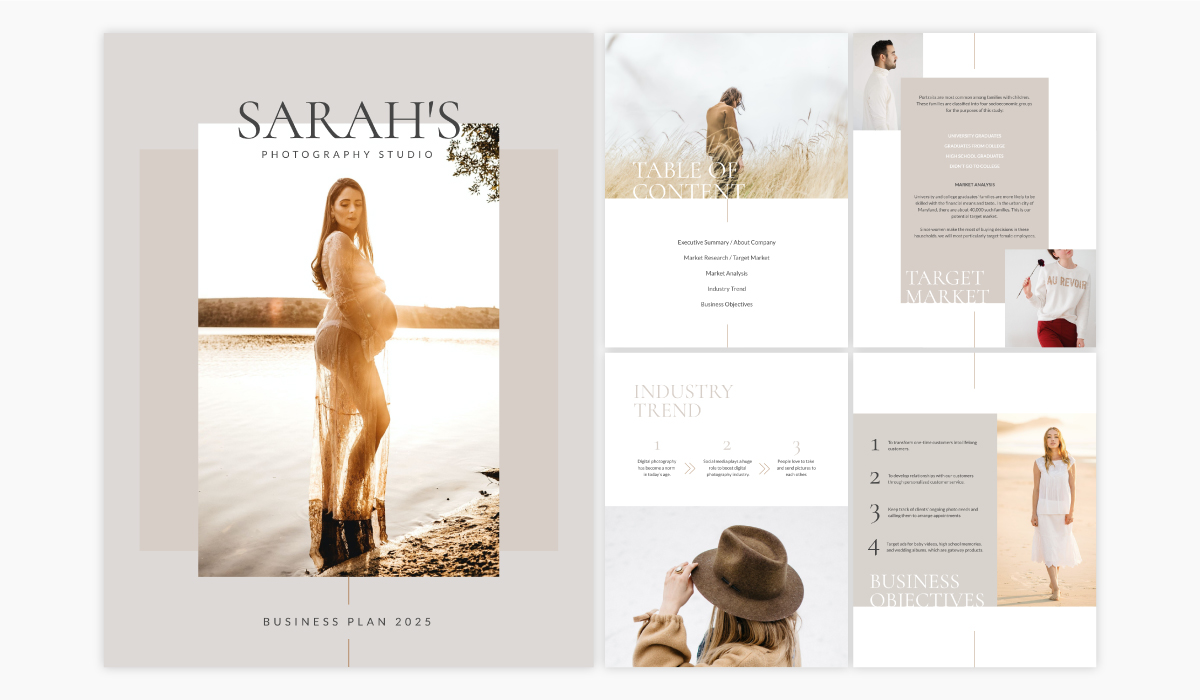 A photography business plan template available in Visme.