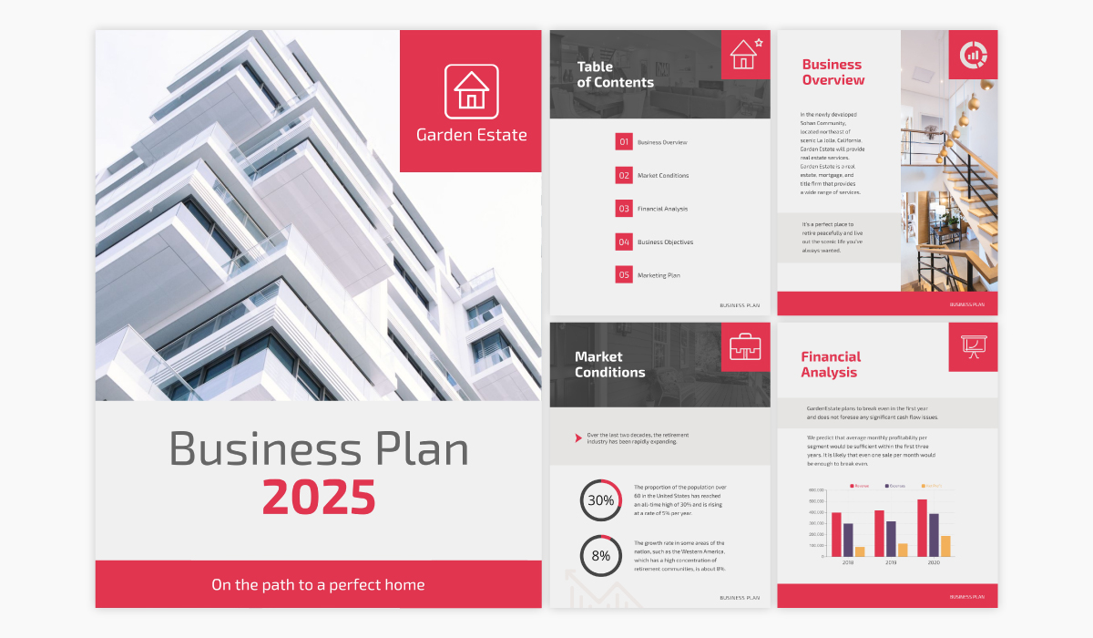 A real estate business plan template available in Visme.