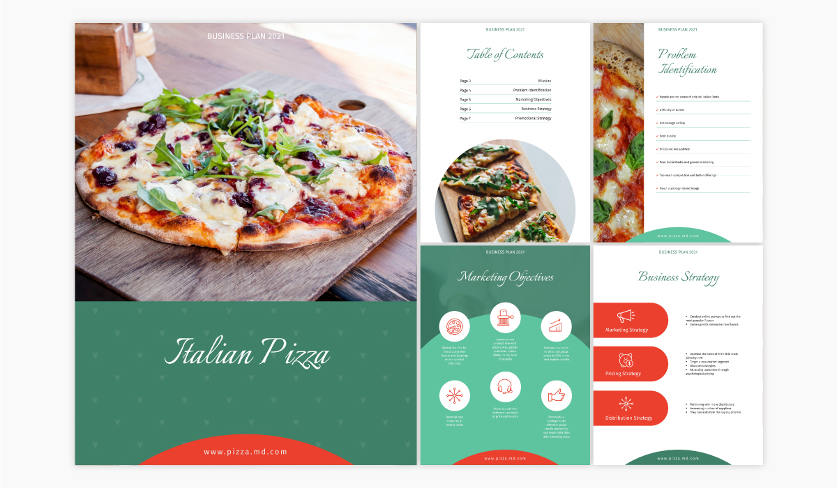 A restaurant business plan template available in Visme.