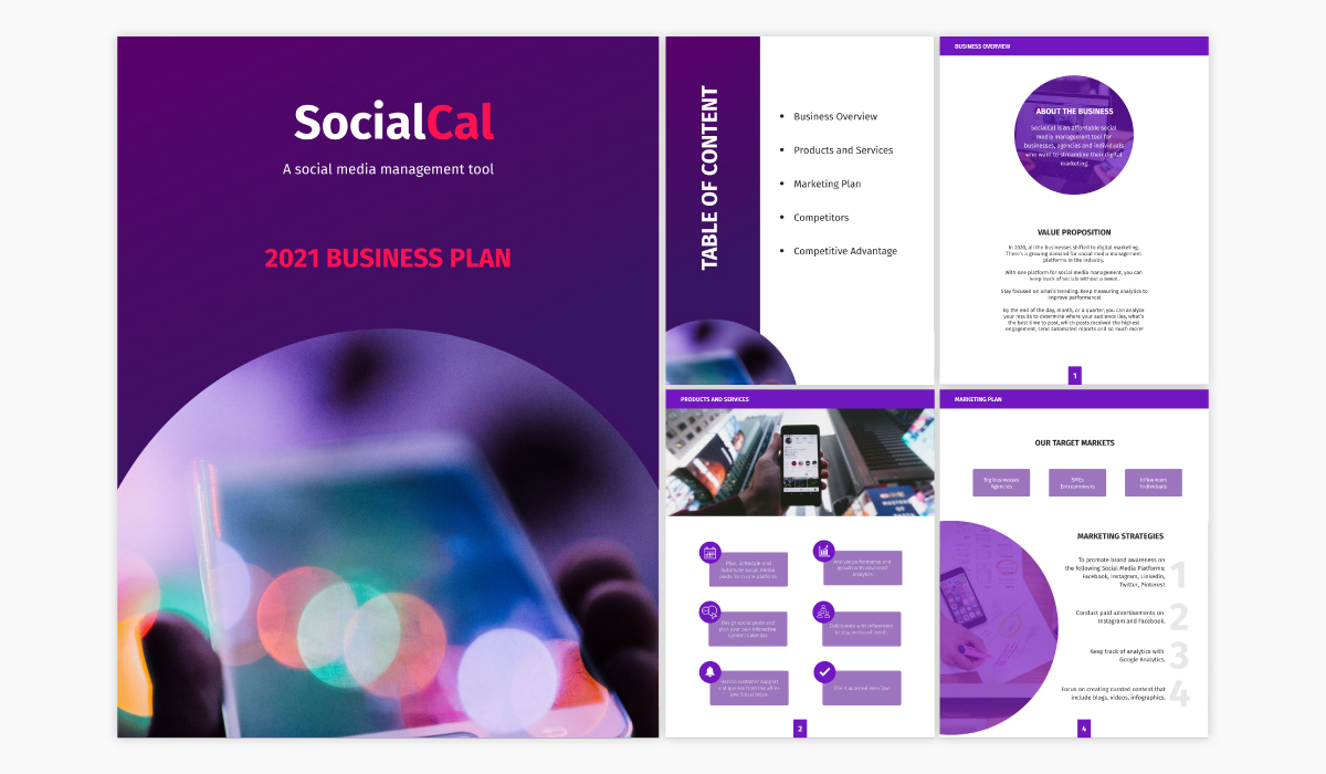 A SaaS business plan template available in Visme.
