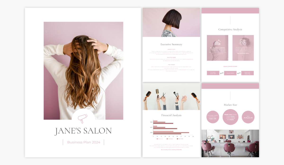 A salon business plan template available in Visme.