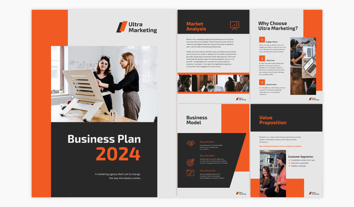 A startup business plan template available in Visme.