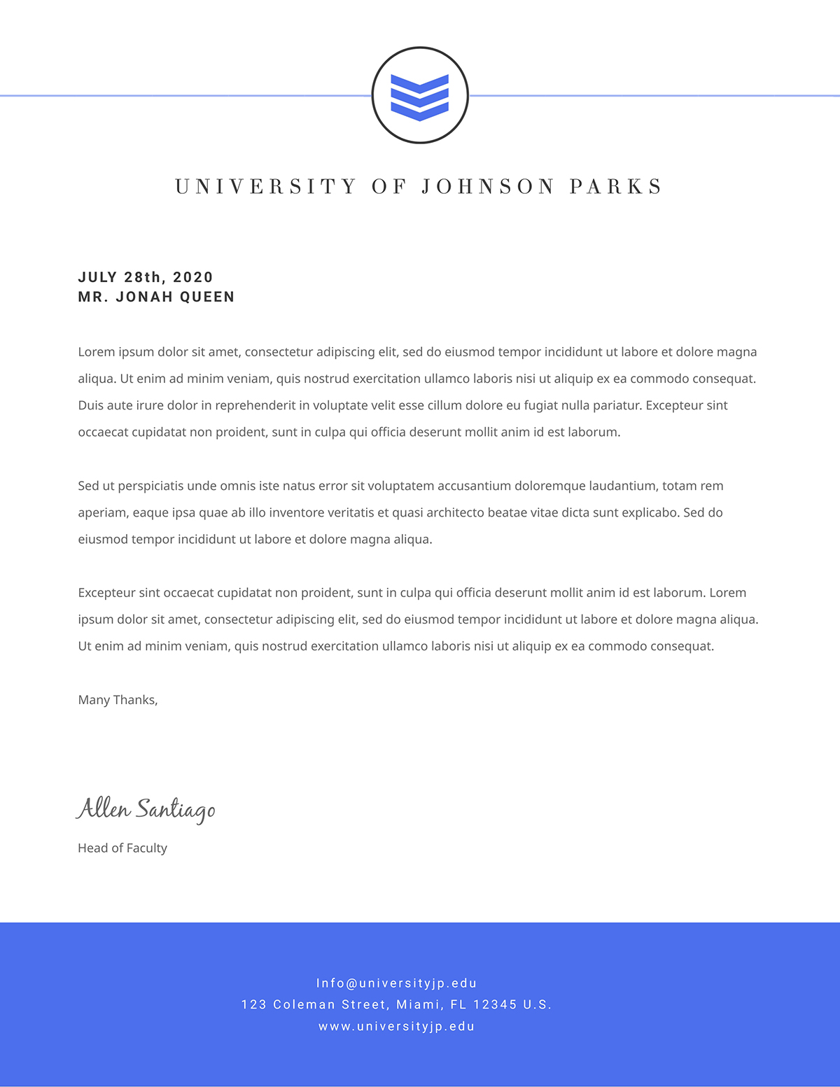 A university letterhead template available in Visme.